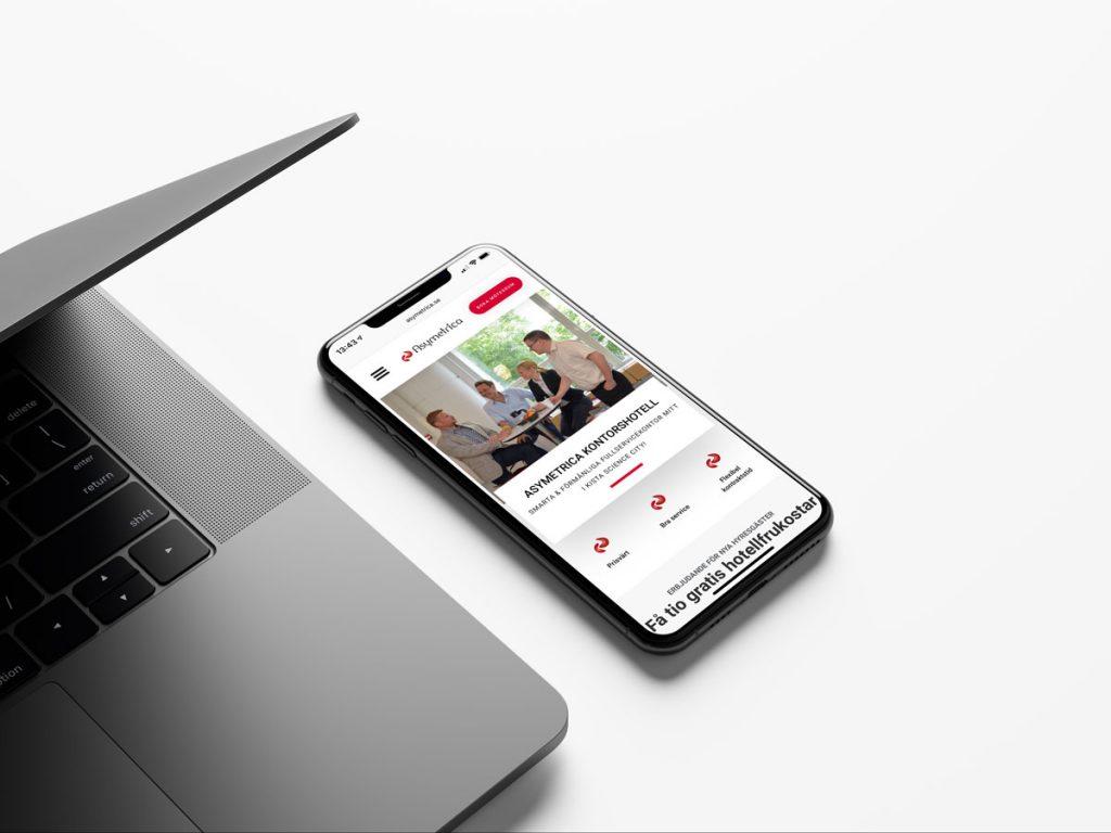 Asymetrica kontorshotell hemsida iPhone